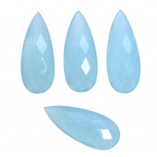 Aqua chalcedony pear rose cut flat back gemstone