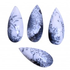 Dendritic opal pear rose cut flat back