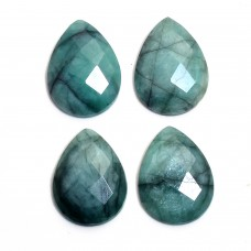 Raw emerald 24x18mm round rosecut 15.8cts
