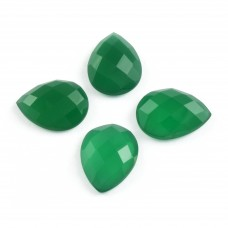 Green onyx pear rosecut flat back gemstone