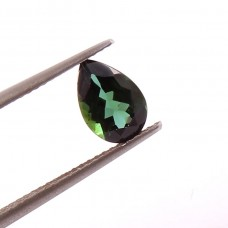 Natural Dark Green tourmaline 5.7x8.7mm pear facet 1.20 cts