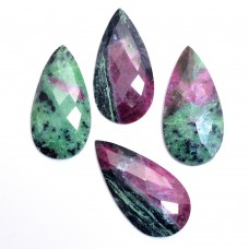 Ruby zoisite 45x22mm pear rose cut flat back 52.1 ct Gemstone