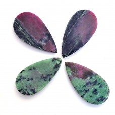 Ruby zoisite pear rose cut flat back