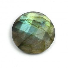Labradorite 18mm round checkerboard cut flat cab 12.0 cts