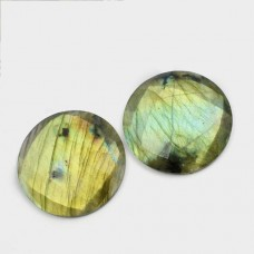 Labradorite 20mm round checkerboard cut flat cab 13.7 cts