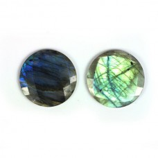 Labradorite 25mm round checkerboard cut flat cab 29.0 cts