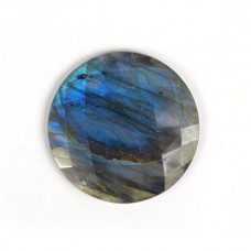 Labradorite 30mm round checkerboard cut flat cab 34.0 cts