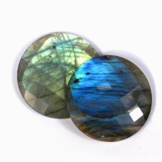 Labradorite 40mm round checkerboard cut flat cab 81.0 cts