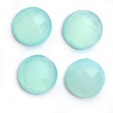 Aqua chalcedony round rose cut flat back gemstone