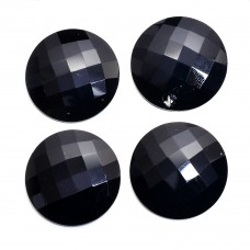Black onyx round rose cut flat back gemstone