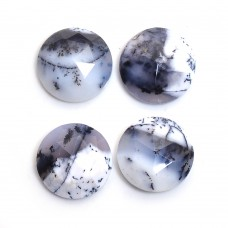 Dendritic opal round rose cut flat back