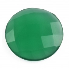 Green onyx round rosecut flat back gemstone