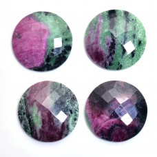 Ruby zoisite round rose cut flat back