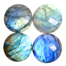 Labradorite 16mm round checkerboard cut flat cab 9.5 cts