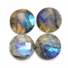 Labradorite 12mm round checkerboard cut flat cab 4.6 cts