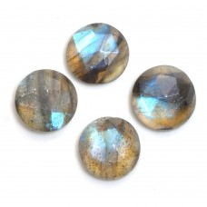 Labradorite 8mm round checkerboard cut flat cab 2.0 cts