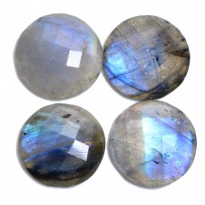 Labradorite 15mm round checkerboard cut flat cab 8.4 cts