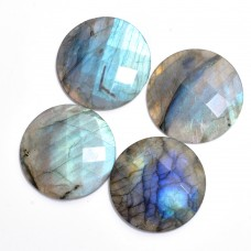 Labradorite 14mm round checkerboard cut flat cab 6.0 cts