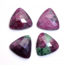 Ruby zoisite trillion rose cut flat back