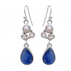 Sterling silver kyanite pear gemstone earring