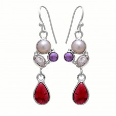 Sterling silver garnet pear gemstone earring