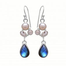 Sterling silver labradorite pear gemstone earring