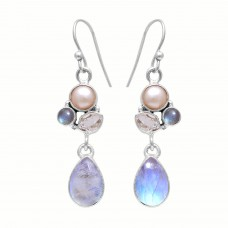 Sterling silver rainbow moonstone pear gemstone earring