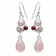 Sterling silver rose quartz pear gemstone earring
