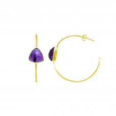 Natural Amethyst Trillion Hoop gemstone earring
