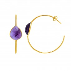 Natural Amethyst Pear Hoop gemstone earring