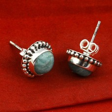 Amazonite 8mm round silver stud earring