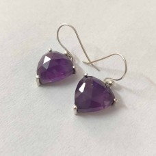 Natural African Amethyst Silver Prong Dangle Earrings