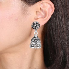 Traditional silver antique style jhumki earring