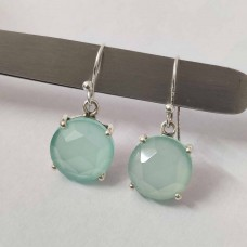 Aqua Chalcedony Round Silver Prong Dangle Earrings