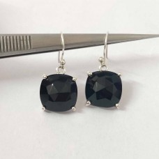 Black Onyx Cushion Silver Prong Dangle Earrings