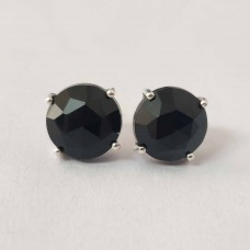 Black Onyx Round Silver Prong Stud Earring