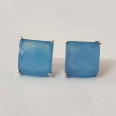 Blue Chalcedony Square Silver Prong Stud Earring