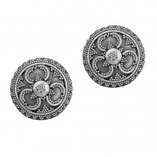Classic silver oxidized stud earring