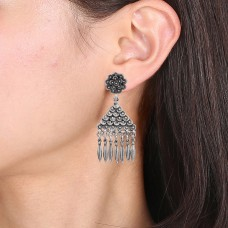 Designer silver oxidized earring