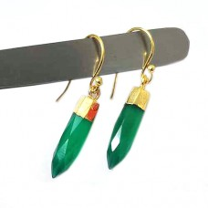 Green onyx spike silver gold electroplated earring