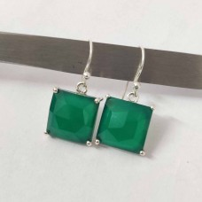 Green Onyx Square Silver Prong Dangle Earrings