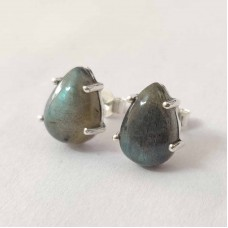 Labradorite Pear Silver Prong Stud Earring