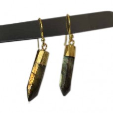 Labradorite spike silver gold electroplated earring