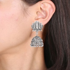 Lotus style silver jhumka earring