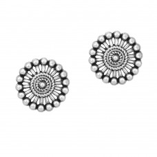 Oxidized traditional silver stud earring