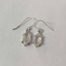 Rainbow Moonstone Marquise Silver Prong Dangle Earrings