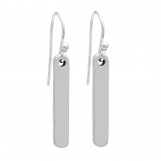 Silver bar dangle minimalist earring