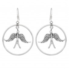 Hanging birds in circle silver earring