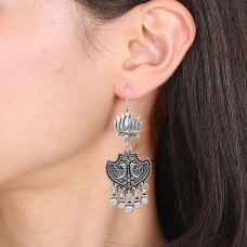 Lotus and peacock silver oxidized earring