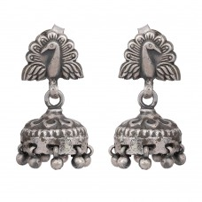 Peacock style silver jhumka earring